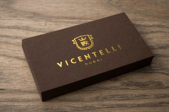 600gram Metallic Marble Foil Blocked and Embossed Business Cards